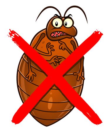 No bedbugs cartoon sign Vector Illustration