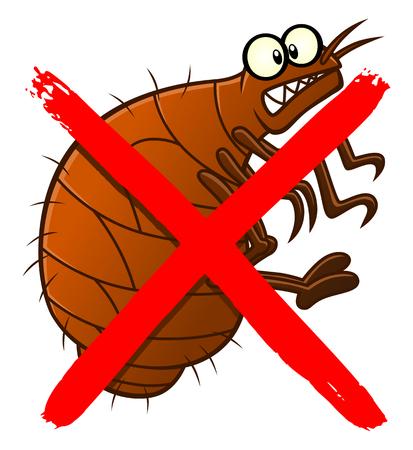 No fleas cartoon sign Illustration