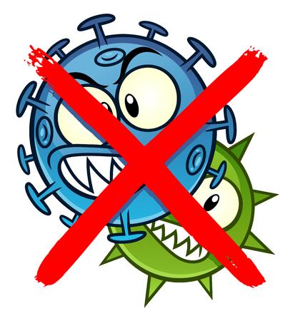 Brak znaku kreskówki mikrobów Ilustracje wektorowe