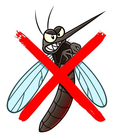 No mosquito cartoon sign Illustration
