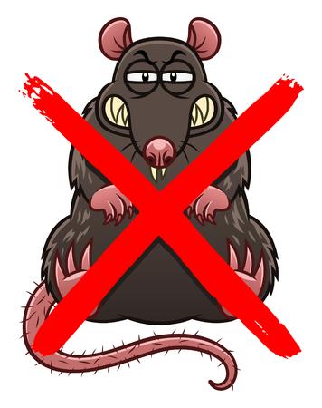Geen ratten cartoon teken