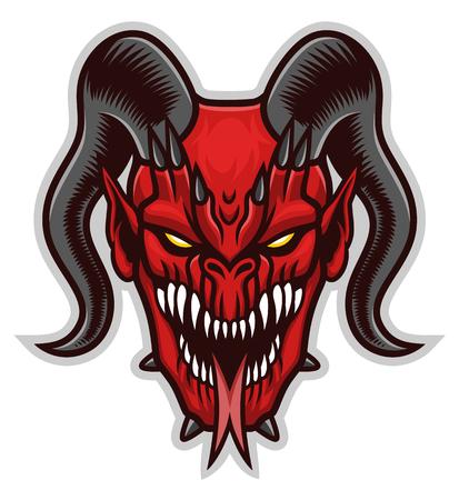 Red demon head on the white background. Иллюстрация