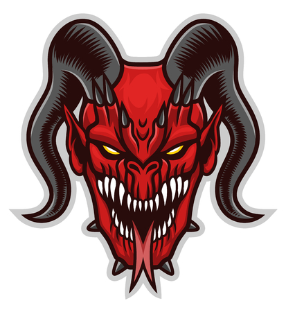 Red demon head on the white background. Illustration