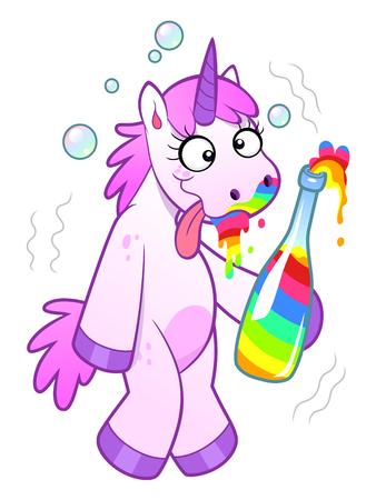 Dronken cartoon Eenhoorn met een fles regenboog