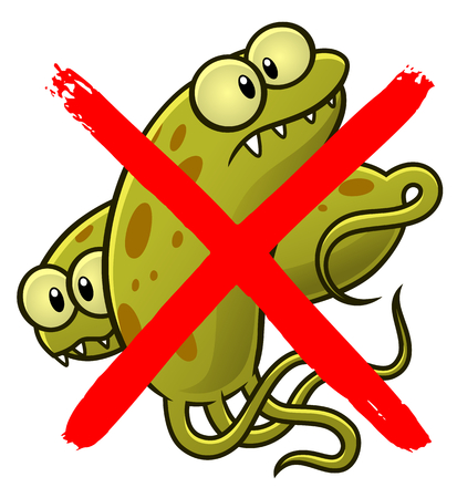 No bacteria cartoon sign