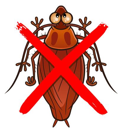No cockroach cartoon sign