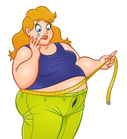 Schreiende fette Frau mit messender Bandvektorillustration