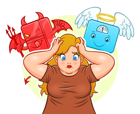 Demon fridge angel weight scales and fat woman vector illustration