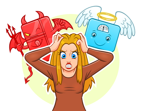 Demon fridge angel weight scales and girl vector illustration