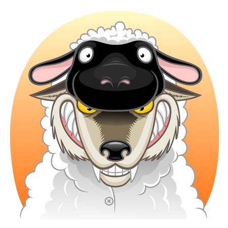 Wolf in sheep clothing clothing illustration on white background.