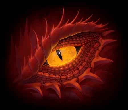 Yellow eye of red dragon. Digital painting. 스톡 콘텐츠