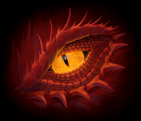 Yellow eye of red dragon. Digital painting. Stock Photo