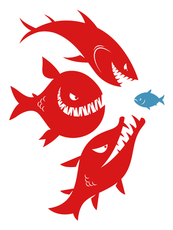 Three danger big fishes and one small fish