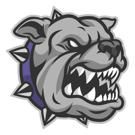 Wütender Bulldoggenkopf mit offenem Mund Vektorgrafik