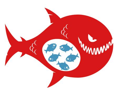 Pequeños peces comidos por grandes peces malvados Ilustración de vector
