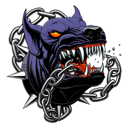 Il cane nero arrabbiato ha rotto la catena
