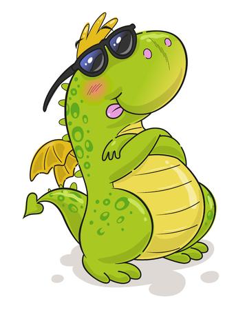 Cute funny cool dragon in sun glasses Illustration