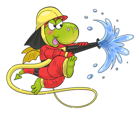 Cute funny dragon firefighter