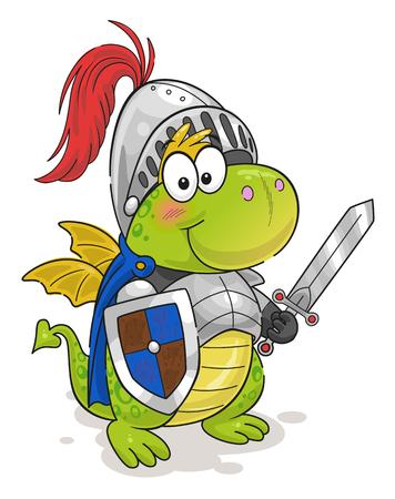 Cute funny dragon knight