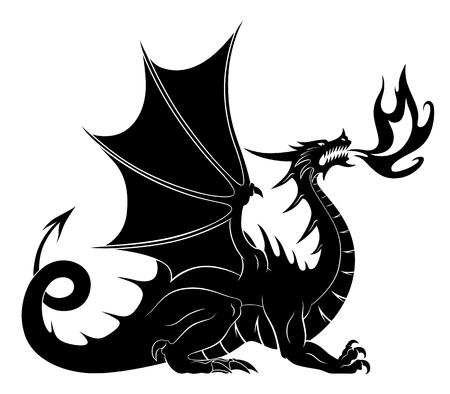Silueta de dragón con fuego