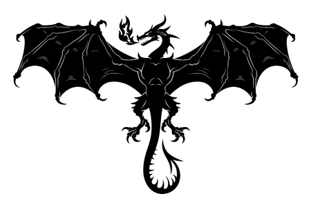 Flying dragon silhouette