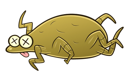 Cartoon defeated dust mite. Cartoon pest series.