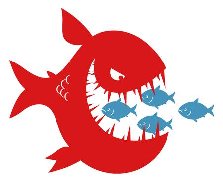 Piccoli pesci nella bocca del grande pesce Vettoriali