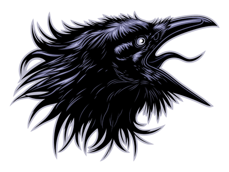 Screaming raven head Illustration