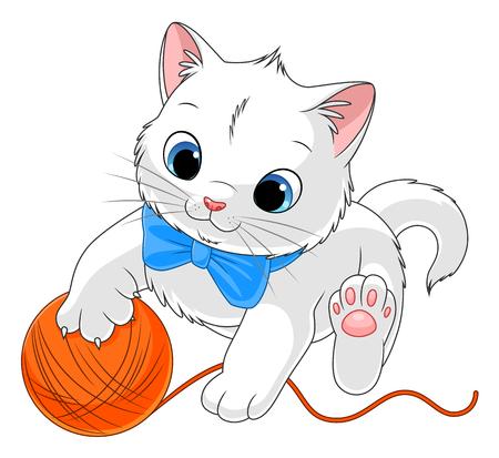 White kitten with ball of yarn Stock Illustratie