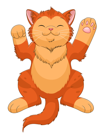 Sleeping cartoon ginger kitten. Cartoon kittens series. See more similar kittens in my portfolio.