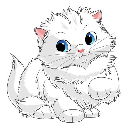 Gatito blanco esponjoso. Serie de gatitos de dibujos animados. Ver gatitos más similares en mi cartera. Ilustración de vector