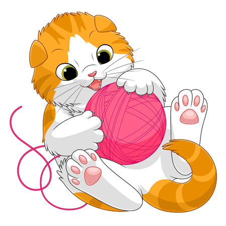 Scottish kitten playing with a ball of yarn Stock Illustratie
