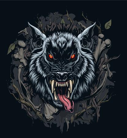 Ilustración de cabeza de hombre lobo con fondo Ilustración de vector
