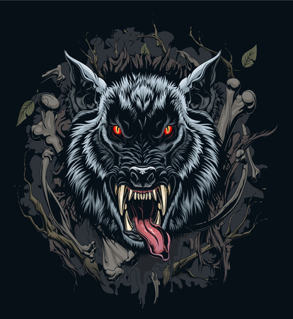 Werewolf head illustration with background Иллюстрация