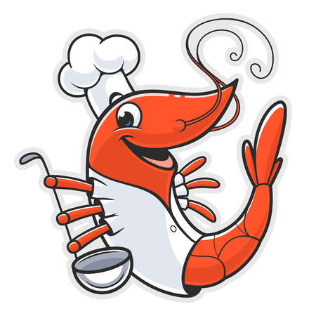 Cute shrimp cook with kitchen spoon. Stock Illustratie