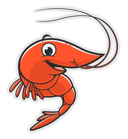 Cartoon happy shrimp Stock Illustratie
