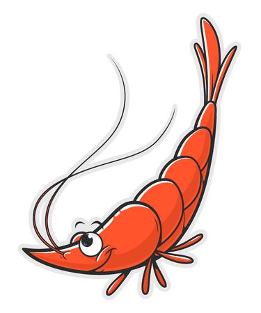 Funny cartoon shrimp vertical Stock Illustratie