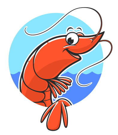 Funny shrimp in circle background