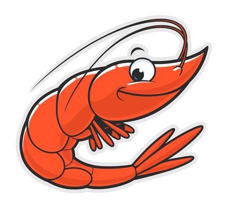 Cartoon funny smiling shrimp on the white background. Vektorové ilustrace