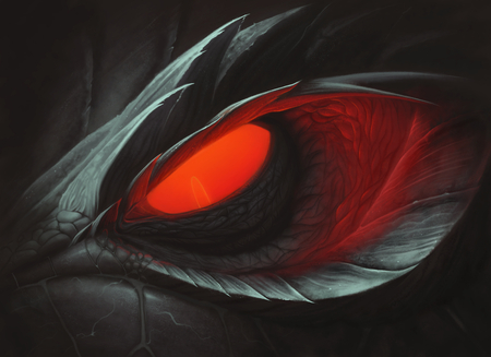 Dark dragon red glowing eye
