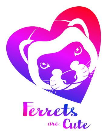 Ferret face in heart with lettering