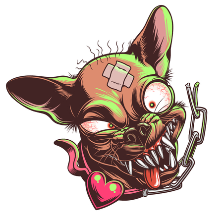 Mad funny chihuahua Stock Illustratie