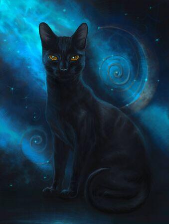 Magic black cat Stockfoto