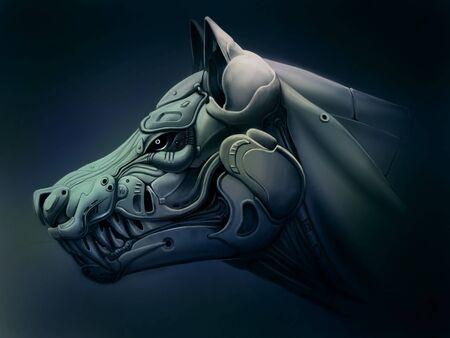 Cyber wolf illustration 免版税图像