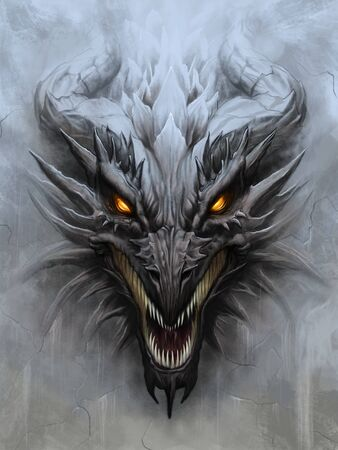 Dragon head on stone background 免版税图像