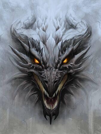 Tête de dragon sur fond de pierre