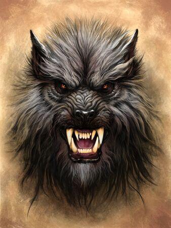 Werewolf on the stone background