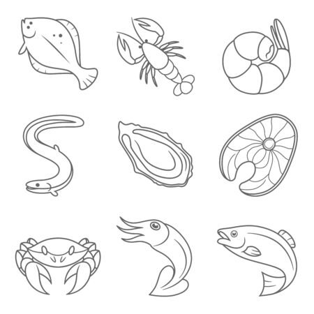 Seafood line icons Banque d'images - 127935049