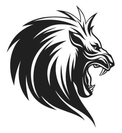 Testa di leone in bianco e nero con la bocca aperta Vettoriali