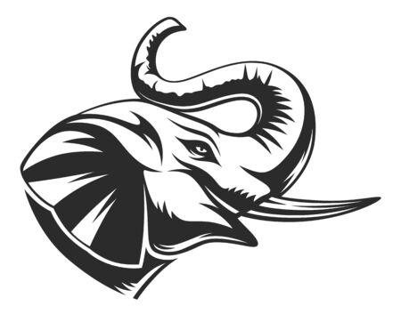 Elephant black and white head